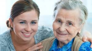 Caregiver and senior client are happy to have each other